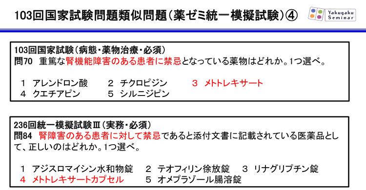 103回国家試験問題類似問題(薬ゼミ統一模擬試験)4