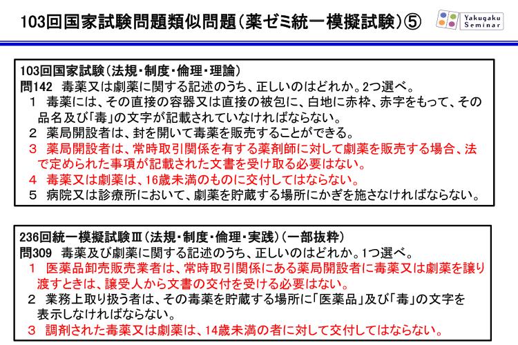 103回国家試験問題類似問題(薬ゼミ統一模擬試験)5